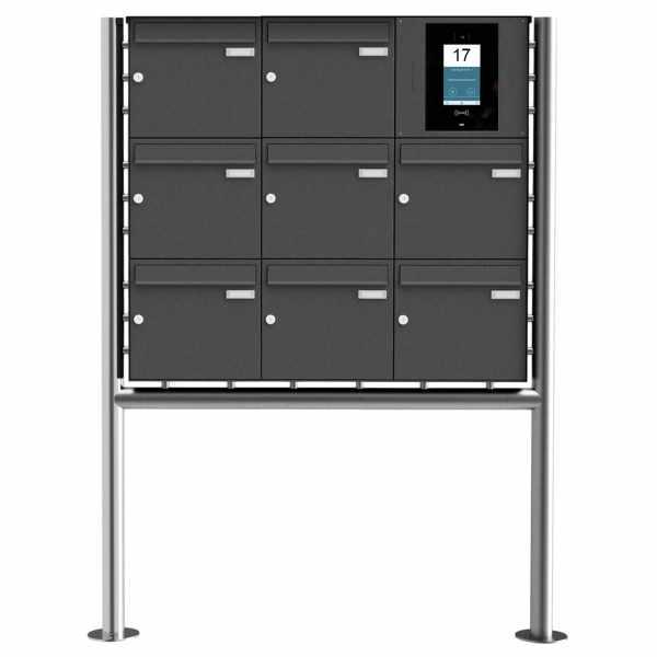 8er Edelstahl Standbriefkasten BASIC Plus 381X ST-R - RAL- STR Digitale Türstation - Komplettset