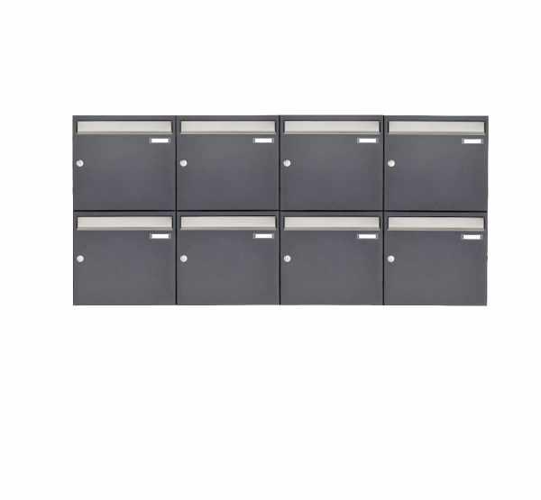 8er 2x4 Aufputz Briefkastenanlage Design BASIC 382 AP - Edelstahl-RAL 7016 anthrazitgrau