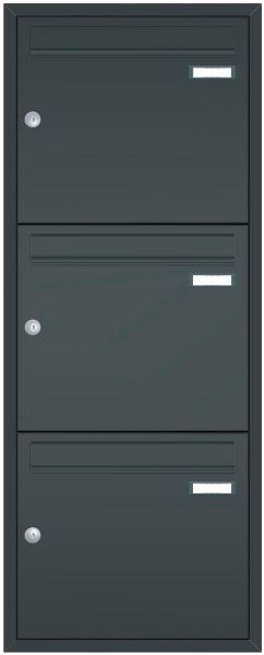 Unterputz Briefkastenanlage BASIC 534 UP pulverbeschichtet - 3 Partei - 3x1