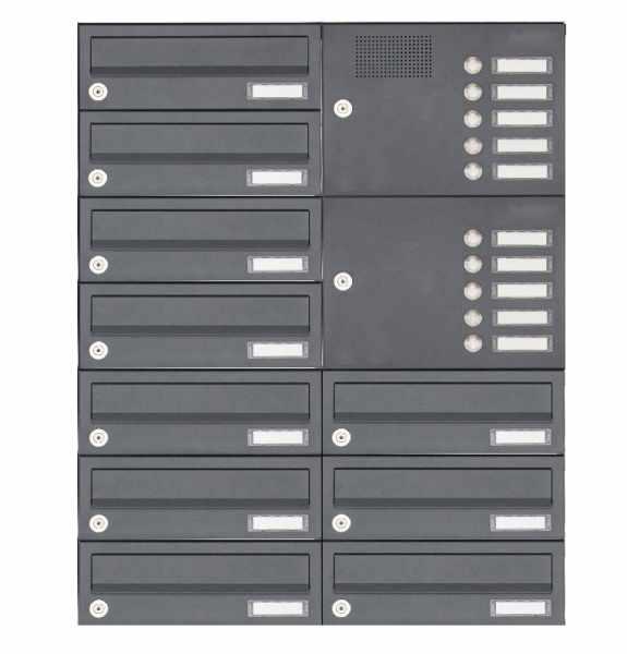 10er Aufputz Briefkastenanlage Design BASIC 385A-7016 AP mit Klingelkasten - RAL 7016 anthrazitgrau