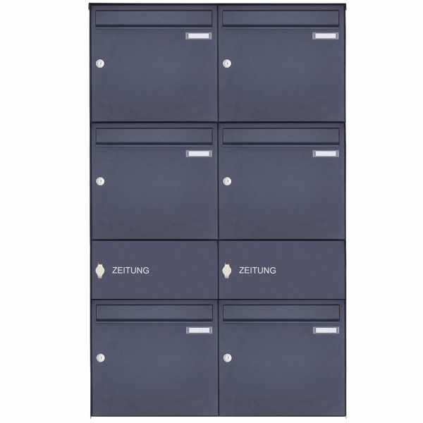 6er Edelstahl Aufputz Briefkasten Design BASIC Plus 382XA AP mit Zeitungsfach - RAL nach Wahl