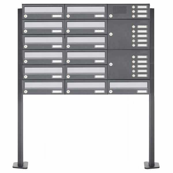13er Standbriefkasten Design BASIC 385P ST-T mit Klingelkasten - Edelstahl-RAL 7016 anthrazit