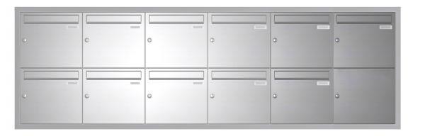 Unterputz Briefkasten BASIC 534 UP - Edelstahl V2A geschliffen - 11 Parteien