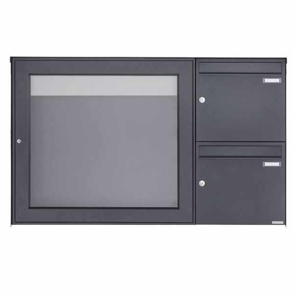 2er Aufputz Briefkasten mit Schaukasten BASIC Plus 389XA AP - 710x660 - RAL nach Wahl