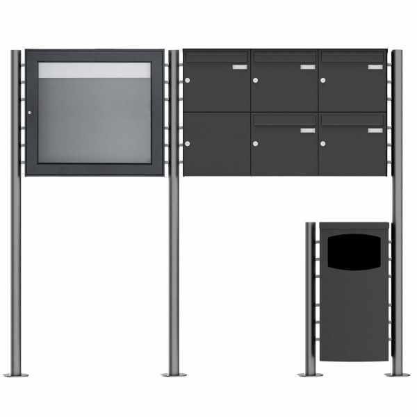 5er 2x3 Standbriefkasten Design BASIC Plus 381X ST-R mit Abfallbehälter & Schaukasten - RAL Farbe