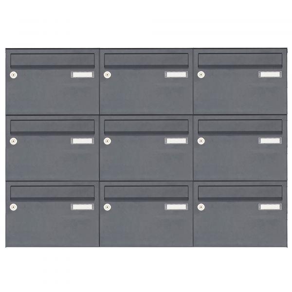 9er Aufputz Briefkastenanlage Design BASIC 385 A 220 - RAL 7016 anthrazitgrau