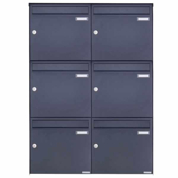 6er 3x2 Edelstahl Aufputz Briefkasten Design BASIC Plus 382XA AP - RAL nach Wahl