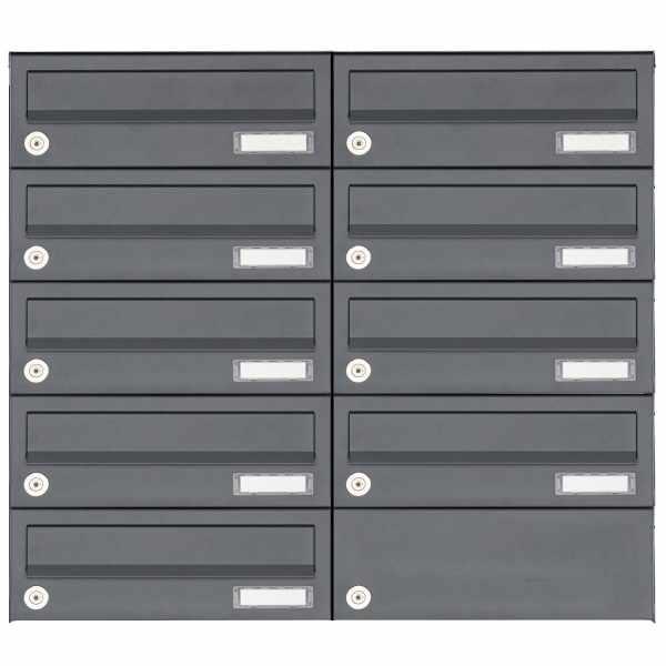 9er 5x2 Aufputz Briefkastenanlage Design BASIC 385A AP - RAL 7016 anthrazitgrau