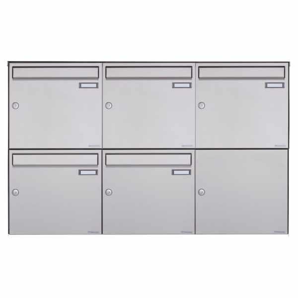 5er 2x3 Edelstahl Aufputz Briefkasten Design BASIC Plus 382XA AP - Edelstahl V2A geschliffen