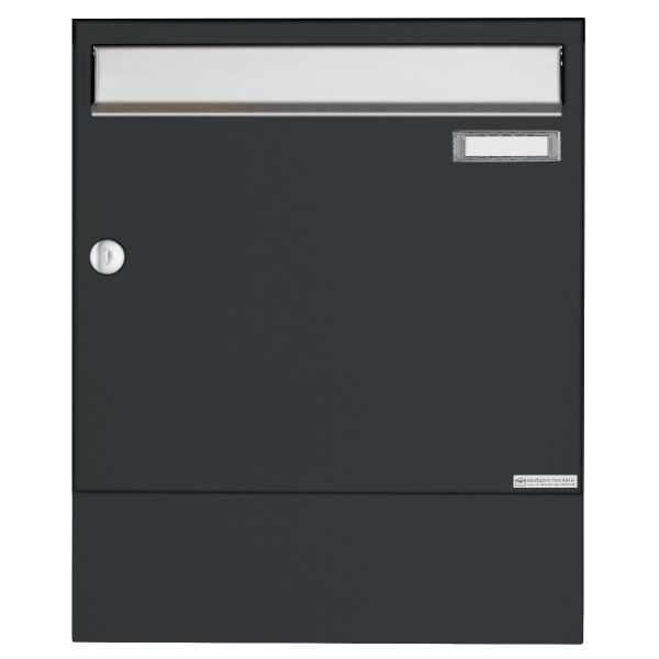 Aufputz Briefkasten Design BASIC 382A AP mit Zeitungsfach - Edelstahl-RAL 7016 anthrazitgrau