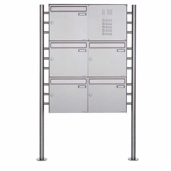 5er 3x2 Standbriefkasten Design BASIC Plus 381X ST-R mit Klingelkasten - Edelstahl V2A geschliffen