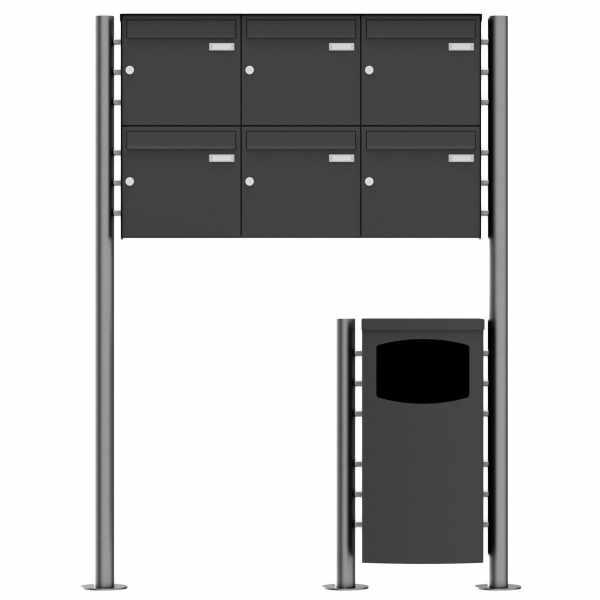 6er 2x3 Edelstahl Standbriefkasten Design BASIC Plus 381X ST-R mit Abfallbehälter - RAL nach Wahl