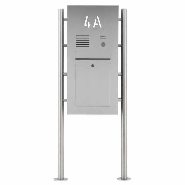 Edelstahl Standbriefkasten Designer ST-R - Hausnummer hinterbeleuchtet - INDIVIDUELL