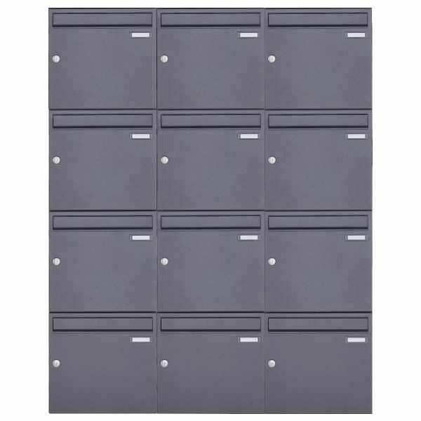 12er 4x3 Aufputz Briefkasten Design BASIC 382A AP - DB703 eisenglimmer