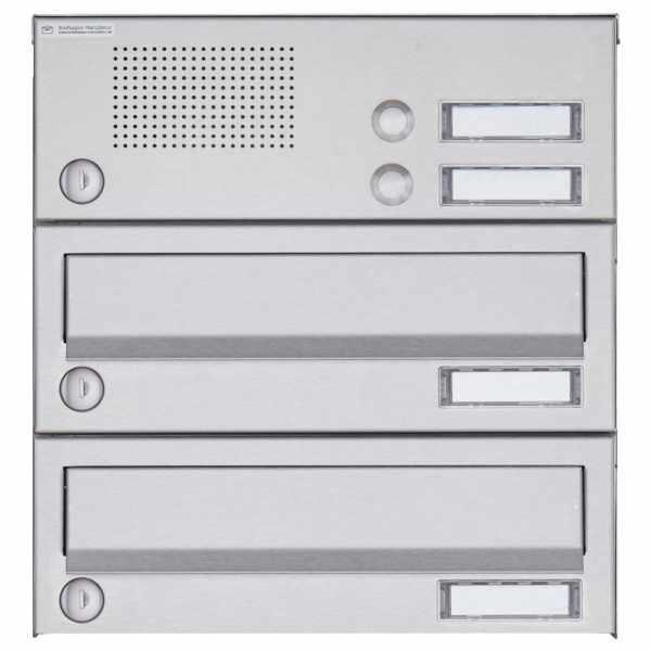 2er Aufputz Briefkastenanlage Design BASIC 385A AP mit Klingelkasten - Edelstahl V2A, geschliffen