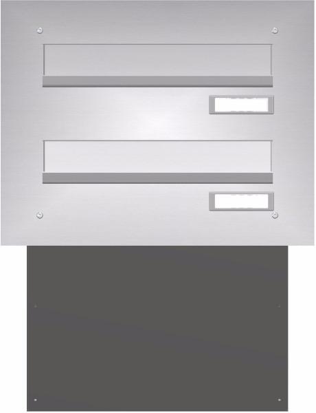 Mauerdurchwurf Briefkasten BASIC 622 - Edelstahl V2A geschliffen - 2 Parteien