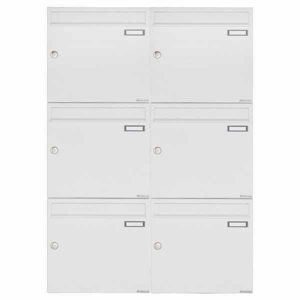 6er 3x2 Aufputz Briefkastenanlage Design BASIC 382A AP - RAL 9016 verkehrsweiß