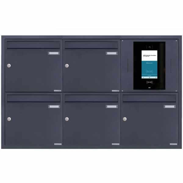 5er 3x2 Edelstahl Unterputzbriefkasten BASIC Plus 382XU UP - RAL nach Wahl - STR Digitale Türstation