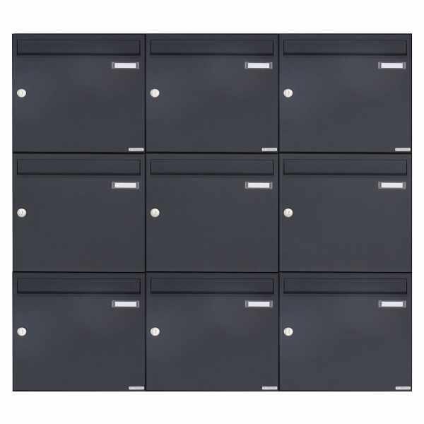 9er 3x3 Aufputz Briefkasten Design BASIC 382A AP - RAL 7016 anthrazitgrau