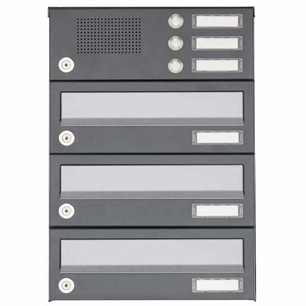 3er Aufputz Briefkastenanlage Design BASIC 385A AP mit Klingelkasten - Edelstahl-RAL 7016 anthrazit