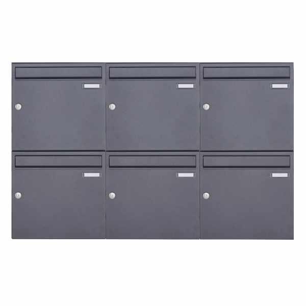 6er 2x3 Aufputz Briefkasten Design BASIC 382A AP - DB703 eisenglimmer