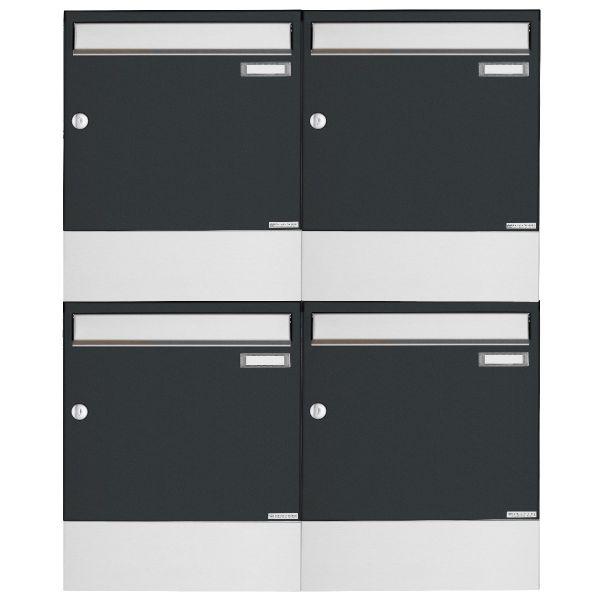 4er 2x2 Aufputz Briefkasten BASIC 382A AP mit Zeitungsfach - Edelstahl-RAL 7016 anthrazitgrau
