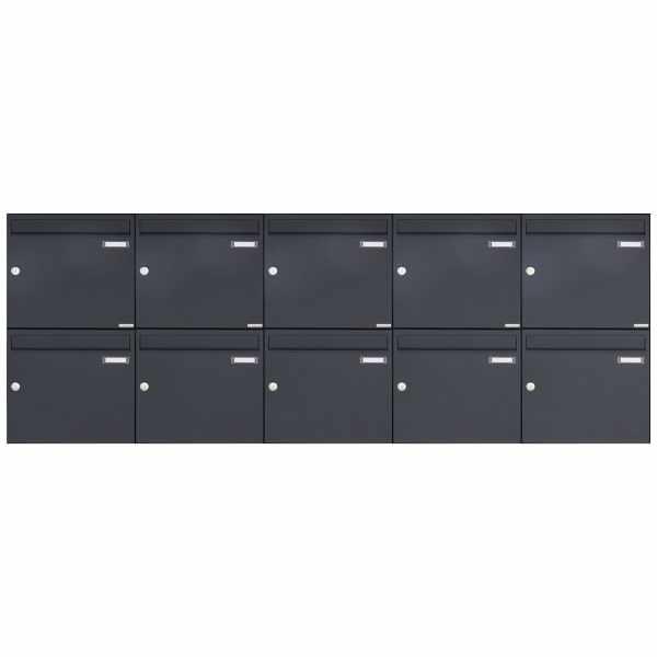 10er 2x5 Aufputz Briefkasten Design BASIC 382A AP - RAL 7016 anthrazitgrau