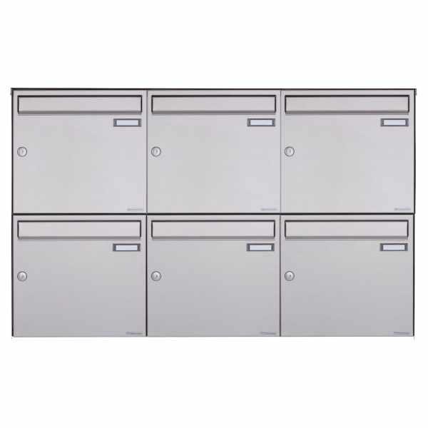6er 2x3 Edelstahl Aufputz Briefkasten Design BASIC Plus 382XA AP - Edelstahl V2A geschliffen