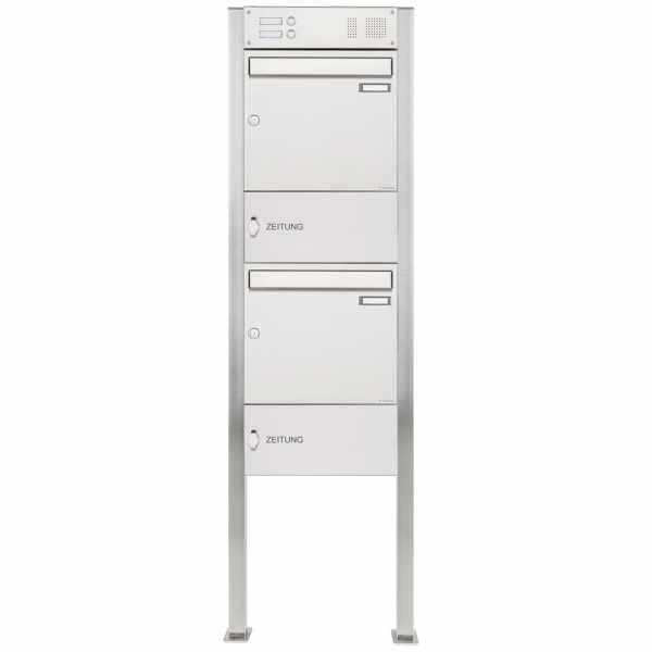 2er Edelstahl Standbriefkasten Design BASIC 384 ST-Q mit Klingelkasten & Zeitungsfach