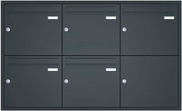 Unterputz Briefkastenanlage BASIC 534 UP pulverbeschichtet - 5 Parteien