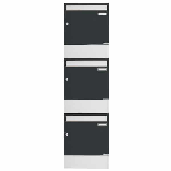 3er 3x1 Aufputz Briefkasten BASIC 382A AP mit Zeitungsfach - Edelstahl-RAL 7016 anthrazitgrau