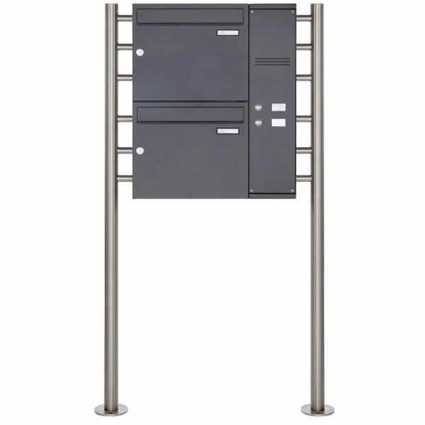 2er Edelstahl Standbriefkasten BASIC Plus 593 ST-R pulverbeschichtet - Klingelkasten - INDIVIDUELL