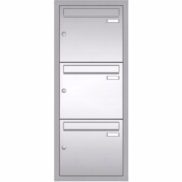 Unterputz Briefkastenanlage BASIC 534 UP - Edelstahl V2A geschliffen - 3 Partei - 3x1