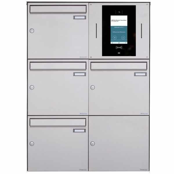 4er 2x3 Aufputzbriefkasten BASIC Plus 382XA AP - Edelstahl geschliffen - STR Digitale Türstation