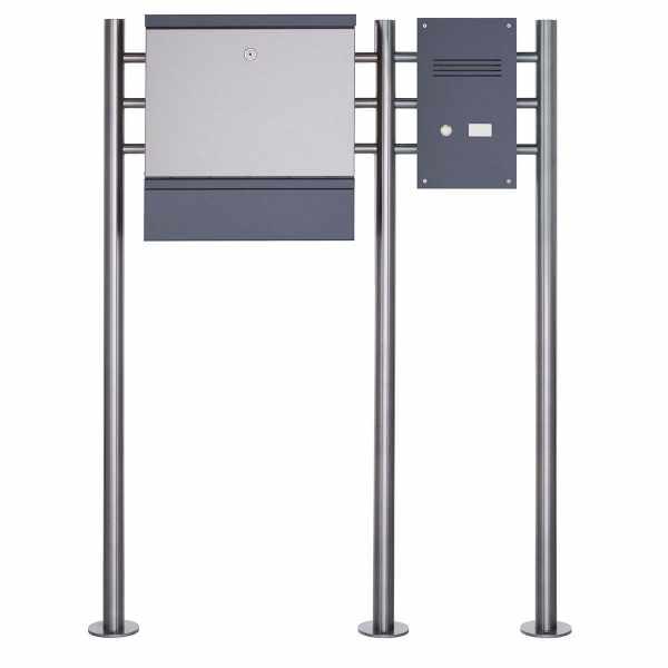 Design Edelstahl Standbriefkasten BRECHT ST-R mit Zeitungsfach & Klingelkasten - Edelstahl-RAL