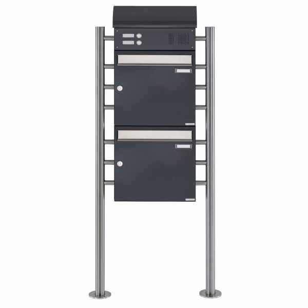 2er Standbriefkasten BASIC 383 ST-R mit Klingelkasten & Zeitungsfach - Edelstahl- RAL 7016 anthrazit