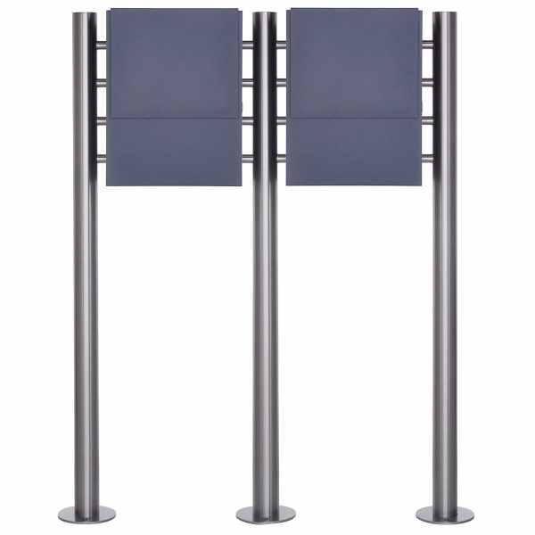 2er Design Standbriefkasten KANT mit innenliegendem Zeitungsfach - RAL 7016 anthrazitgrau