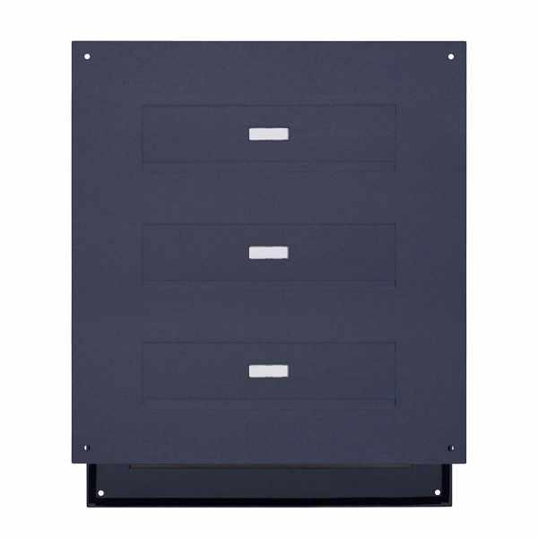 3er Edelstahl Mauerdurchwurf Briefkasten DESIGNER Style - RAL nach Wahl