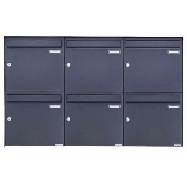 6er 2x3 Edelstahl Aufputz Briefkasten Design BASIC Plus 382XA AP - RAL nach Wahl