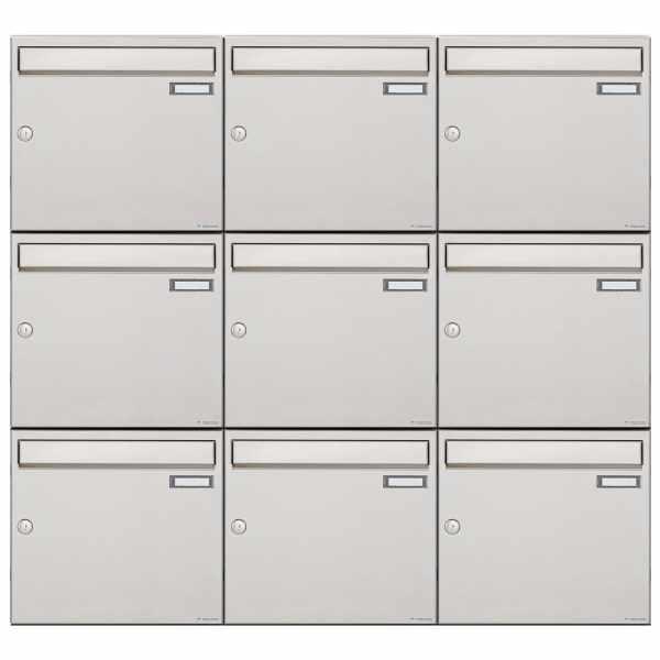 9er 3x3 Edelstahl Aufputz Briefkastenanlage Design BASIC 382A-AP