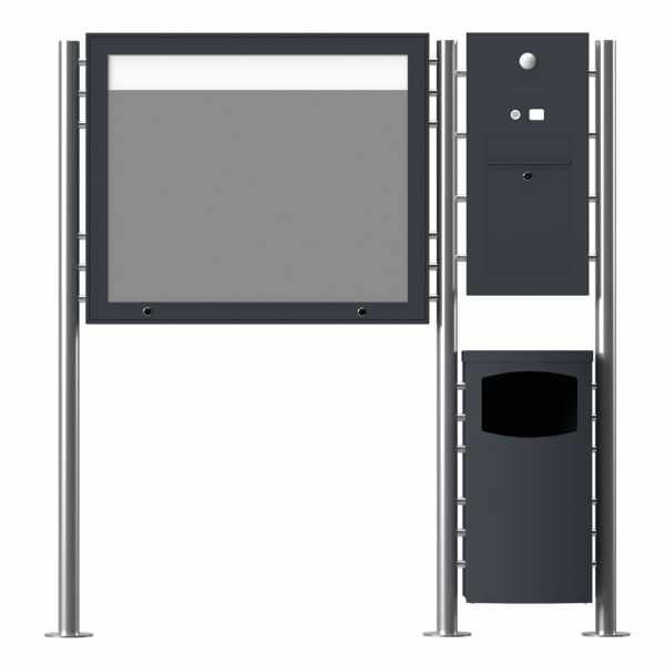Edelstahl Standbriefkasten Designer ST-R mit Abfallbehälter & Schaukasten - Clean Edition - RAL