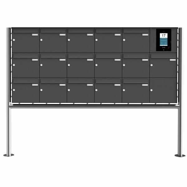 16er Edelstahl Standbriefkasten BASIC Plus 381X ST-R - RAL- STR Digitale Türstation - Komplettset