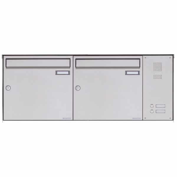 2er Edelstahl Aufputz Briefkasten BASIC Plus 382X AP mit Klingelkasten seitlich