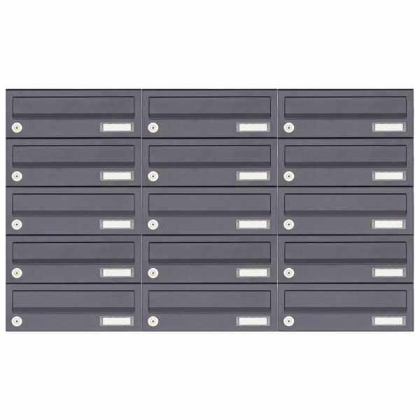 15er 5x3 Aufputz Briefkastenanlage Design BASIC 385A-7016 AP - RAL 7016 anthrazitgrau