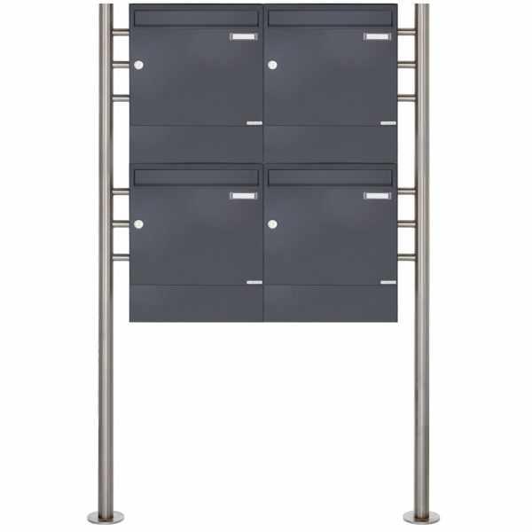 4er 2x2 Standbriefkasten Design BASIC 381 ST-R mit Zeitungsfächer - RAL 7016 anthrazitgrau