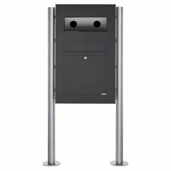 Edelstahl Standbriefkasten Designer BIG - RAL nach Wahl - GIRA System 106 - 3-fach vorbereitet