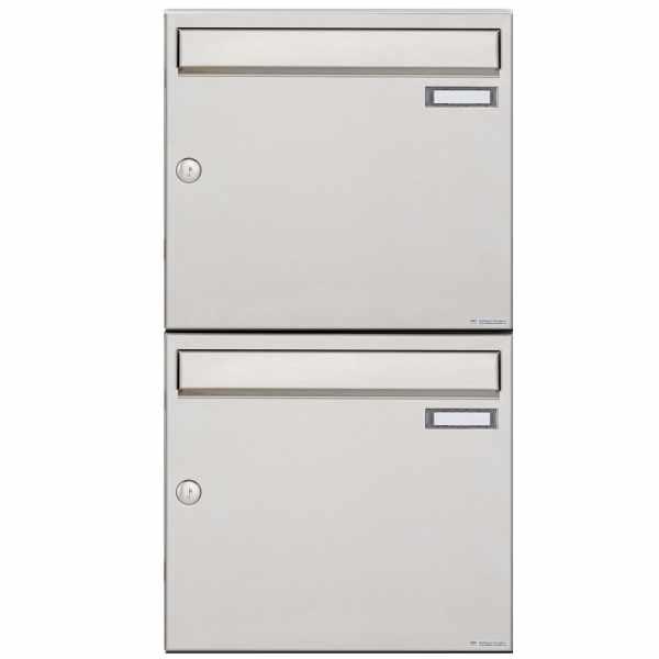 2er 2x1 Edelstahl Aufputz Briefkastenanlage Design BASIC 382A-AP