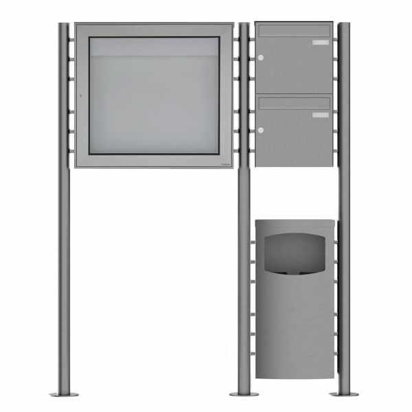 2er Edelstahl Standbriefkasten Design BASIC Plus 381X ST-R mit Abfallbehälter & Schaukasten