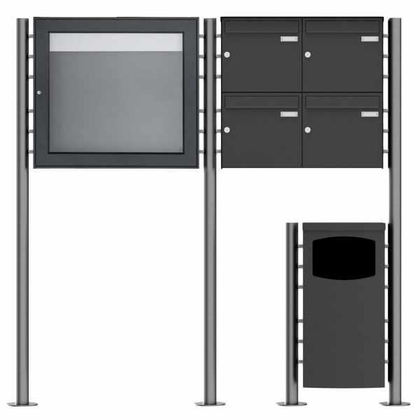 4er 2x2 Standbriefkasten Design BASIC Plus 381X ST-R mit Abfallbehälter & Schaukasten - RAL Farbe