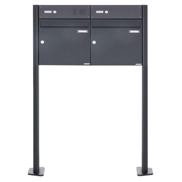 2er Standbriefkasten Design BASIC 380 W ST-T mit Klingelkasten - RAL 7016 anthrazitgrau